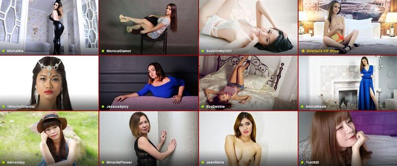 The frontpage of the Asian category on LiveJasmin.com